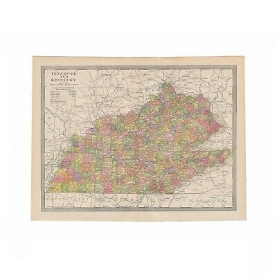 Antique 1906 color map of Louisiana from disbound 1906 encyclopedia