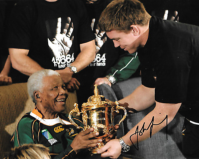 john smit nelson mandela holding world cup trophy 2007 signed 10x8 photo