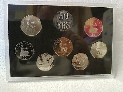 Celebrating 50 Years of the 50p. 1969 -2019 50p BUNC Coin Set .