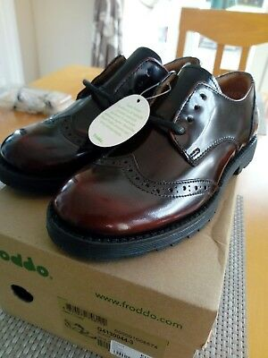 Froddo Girl's maroon patent Lace Up Brogue Shoes, EU size 31, UK 12.5 BNIB