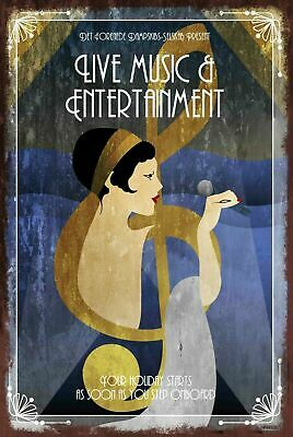 Music and Entertainment Advert Art Deco Aged Look Vintage Retro style Metal Sign