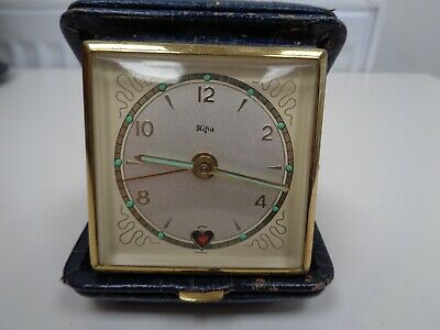 Vintage 1950s? Hipa(?) Travel Alarm Clock w Animated 'Ticking' Heart Very Cool!