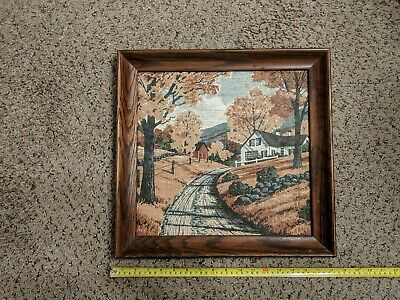 Vintage Kay Dee Handprints 100% Pure Linen Wood Framed Print - Beautiful VGC