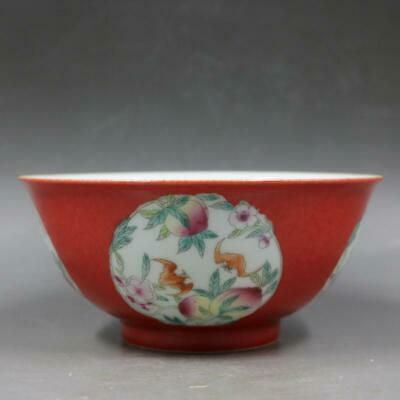Chinese Old Marked Red Famille Rose Peaches and Bats Pattern Porcelain Bowl
