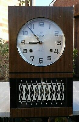 CHIMING 1970s 30 DAY WIND UP WALL CLOCK - with Pendulum and Key - WORKING ORDER