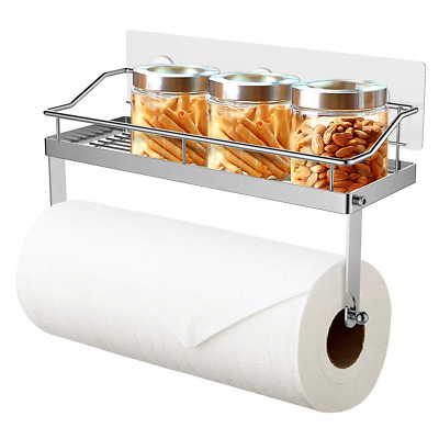 Oriware Adhesive Paper Towel Holder with Shelf Kitchen Roll Dispenser Spice Rack