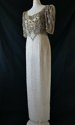 Vintage Dress Beaded Wedding Hollywood Starlet 30s 40s Style Indian Sequin 10-12