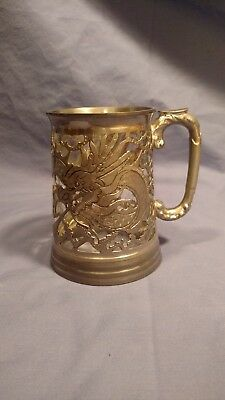 Antique Chinese Dragon Tankard/ Mug Pierced Pewter, Glass Lined, Marked Bottom