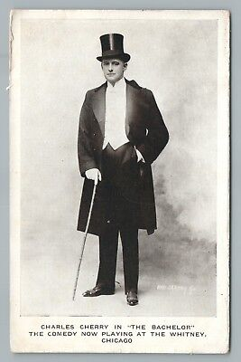"""Charles Cherry—The Bachelor"" Antique CHICAGO Theater Actor Advertising 1910s"