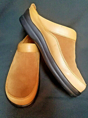 204bf68cc760 Footprints Birkenstock Womens Sz 38 US 7 Brown Suede Leather Mules Slip On  Clogs