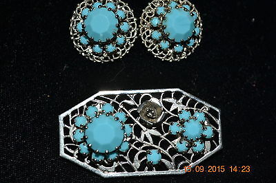 Beautiful Vintage Silver Plated Turquoise Glass Crystal Brooch/Earrings Unmarked