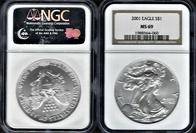 2001- 1 oz .999  SILVER American Silver Eagle GRADED BY NGC MS-69 SALE