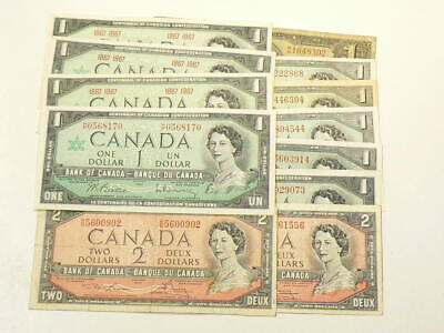 1937 to 1967 Canada Banknotes $1 & $2 Dollars Multiple Signatures Circ #3089