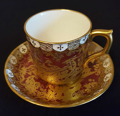 Rare Royal Crown Derby Paradise Maroon Demitasse Cup & Saucer - Discontinued #