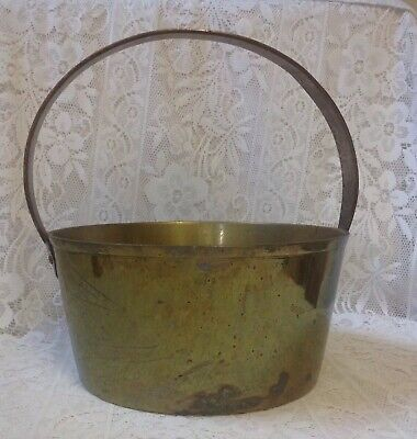 Antique Heavy Brass Jam Pan / Cooking Pot, With Riveted Steel Handle