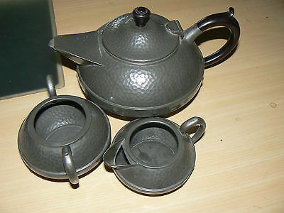 Art Deco Craftsman Sheffield Pewter Teapot Milk Jug and Sugar Pot