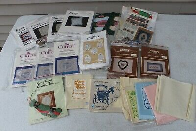 Huge Lot Vintage Cross Stitch Embroidery Craft Kits Fabric Charles Counted