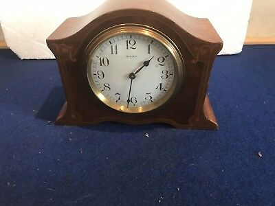 Edwardian Inlaid Mahogany Case 8 Day Mantle Clock