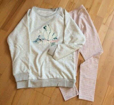 BNWT Next Girls Polar Bear Sweat Top & Striped Leggings Pyjamas Age 11