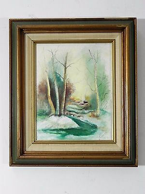 Antique Vintage Original Oil on Canvas Signed by Herman - Landscape Woods 12X14