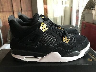 on sale 31f65 b0241 NEW Nike Air Jordan 4 Retro royalty BG 408452 032 Black Gold sneakers Size  6.5Y