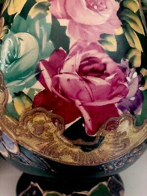 Vintage Antique Pottery Huge Emerald Vase Handled Hand Painted Gorgeous Roses