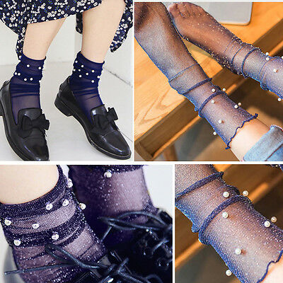 3 Pairs Navy Sheer Glitter Ultra Thin Soft Beaded Ankle High Anklet Sock Retro