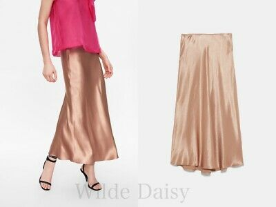 58ee409c16 Zara New Satin Skirt Long Midi Beige Pink Flowing Smart Casual A-Line Size  Xs