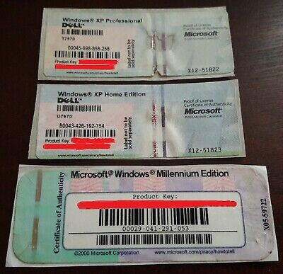 Windows XP Home + Pro COA + Windows Millennium ME COA