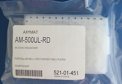 10 AxyMat Silicone Sealing Mats for Round 96 DW VB Microplates  AM-500UL-RD