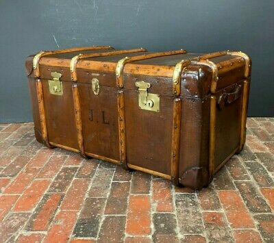 Sublime English Wood Banded Vintage Trunk
