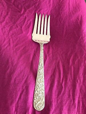"""Vintage S Kirk & Son Sterling Silver Repousse Five (5) Prong Fork 9 3/4"""""""
