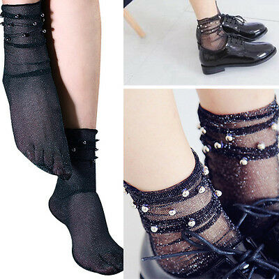 3 Pairs Black Sheer Glitter Ultra Thin Soft Beaded Ankle High Anklet Sock Retro