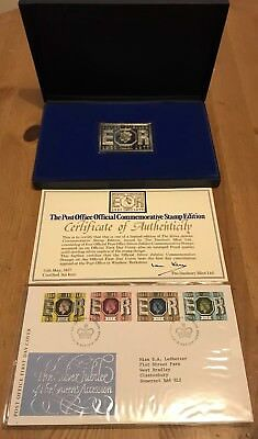 Queens Silver Jubilee Official Queens Accession Silver ingot and first day cover
