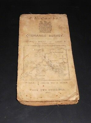 Vintage Collectable Ordnance Survey England And Wales  Sheet 8 Map Second Ed.