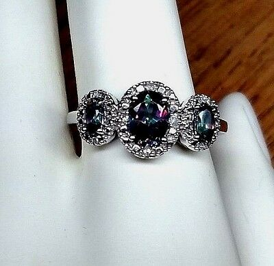 Iridescent Multi Color 3 Stone Ring w/ Clear Stones set in Silver Plated, Sz 9