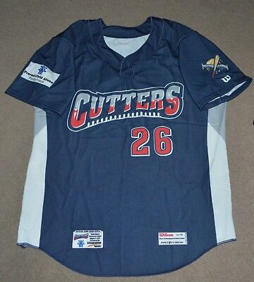 2c5ca46ad31cd4 Williamsport Crosscutters Game Worn Baseball Jersey Child Abuse Awareness