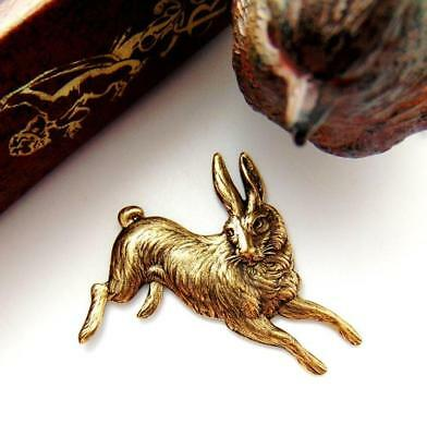 ANTIQUE BRASS Vintage RABBIT Stamping ~ Ornament Finding Oxidized (CA-3035)