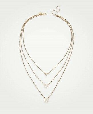 NWT ANN TAYLOR Gold-tone Crystal Triple Layer Necklace RV $49.50