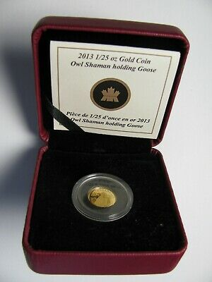 2013 Proof 50 cents 1/25oz .9999 Gold Comm. #2-Owl Shaman Holding Goose Inuit Ca