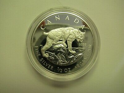 2005 Proof $4 Lynx SML from fractional set Canada 1/2oz .9999 silver four dollar