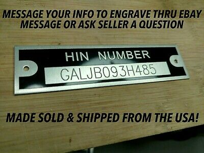 Free Shipping Boat Serial Hull Number HIN Plate with Custom engraving included