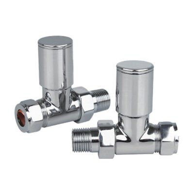 Prima Flow Twin Pack Cc Straight Radiator Valves 15Mm Polished Chrome