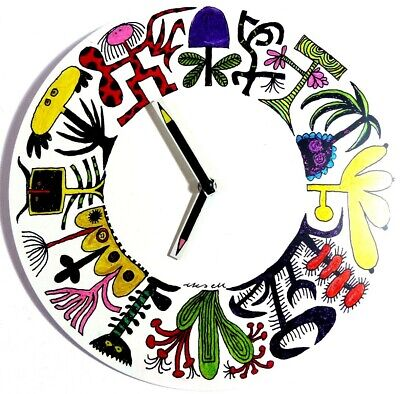 Wall Clock Humorous Funny Abstract Plants Unique Hand Coloured White metal 28cm