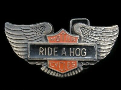 RK01116 VINTAGE 1970s **RIDE A HOG** MOTORCYCLE COMMEMORATIVE BELT BUCKLE