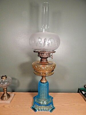 ANTIQUE 1880s BLUE AMBER BEADED LATTICE AND THOUSAND EYE OIL LAMP, COMPLETE