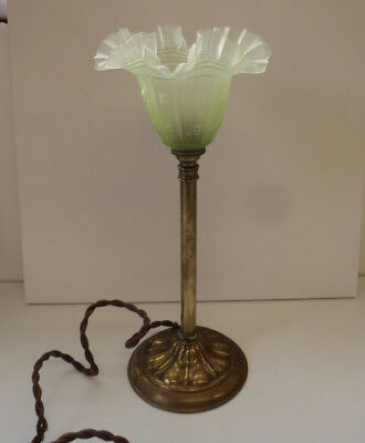Antique Art Nouveau Brass Table lamp with ornate glass shade