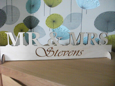 Large Mr & Mrs Any Name Wooden Wedding Standing Plaque Personalised with Surname