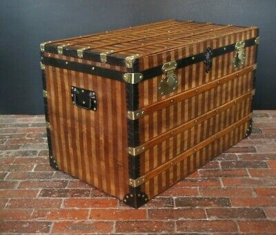 Antique Striped Canvas Steamer Trunk Chest