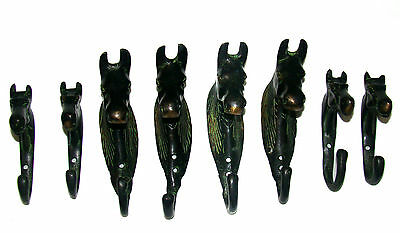 A set of 8 attractive brass HORSE HEAD designed COAT Hooks nicely engraved INDIA